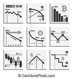 Bitcoin Falling Down Chart Graphics Set. Vector