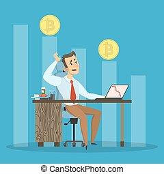 Bitcoin falling. Sad businessman sitting with computer.