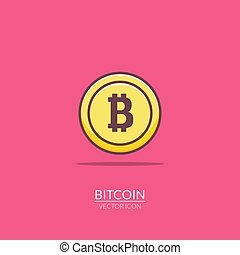 Bitcoin flat icon digital money. Bit coin electronic gold...