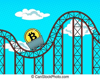 Bitcoin fluctuations pop art vector illustration
