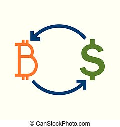 Bitcoin Fund Transfer Exchange Vector Illustration Graphic