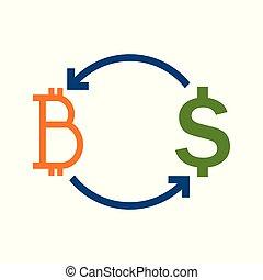 Bitcoin Fund Transfer Exchange Vector Illustration Graphic