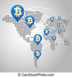 Bitcoin global business concept, Dot World maps with Bitcoin...
