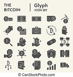 Bitcoin glyph icon set, cryptocurrency symbols collection, vector sketches, logo illustrations, digital money signs solid pictograms package isolated on white background, eps 10.