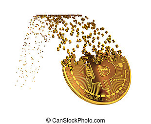 Bitcoin Goes Down After Ups And Falling Apart To Digits. 3D ...