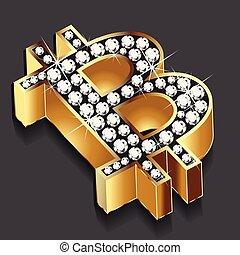 Bitcoin gold bling bling on black background