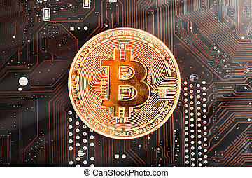 Bitcoin gold coin and defocused chart background. Virtual cryptocurrency concept