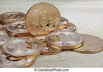 Bitcoin gold coin. Cryptocurrency concept. Virtual currency.