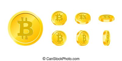 Bitcoin gold coin icon set in different angles isolated on white background. Digital currency money concept. Symbol of crypto currency, blockchain technology. Design template in vector