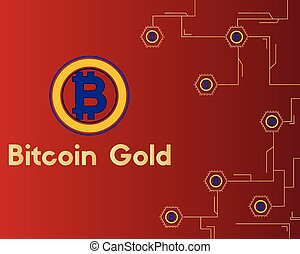 Bitcoin gold cryptocurrency on red background