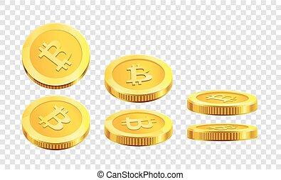 Bitcoin golden coins internet virtual crypto currency vector icons