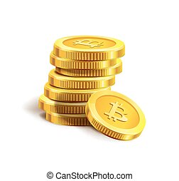 Bitcoin golden coins pile stack internet virtual crypto currency vector icon