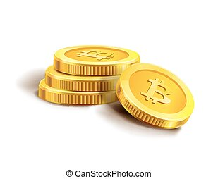 Bitcoin golden coins pile stack.