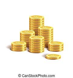 Bitcoin golden coins pile stacks internet virtual crypto currency vector icon