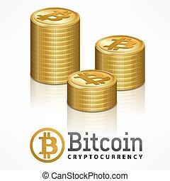 Bitcoin golden coins stack