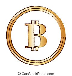 bitcoin golden digital symbol, vector illustration