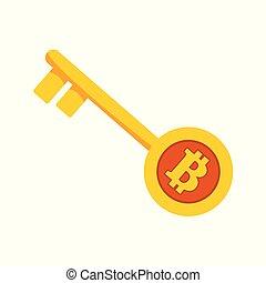 Bitcoin Golden Unlock Key Vector Illustration Graphic