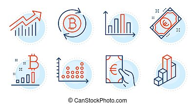 Bitcoin graph, Refresh bitcoin and Dot plot icons set. Euro money, Diagram graph and 3d chart signs. Vector