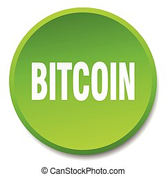 bitcoin green round flat isolated push button