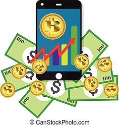 Bitcoin growth concept Payment and trade on smartphone symbol Bitcoin revenue illustration Stacks of gold coins like income graph with bitcoinVector illustration isolated on colored background
