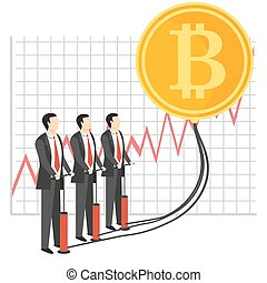 Bitcoin growth concept vector illustration