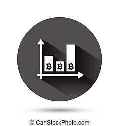 Bitcoin growth icon in flat style. Blockchain vector illustration on black round background with long shadow effect. Cryptocurrency circle button business concept.