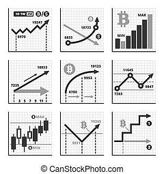 Bitcoin Growth Up Chart Graphics Set. Vector