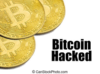 BITCOIN HACKED text on white background.