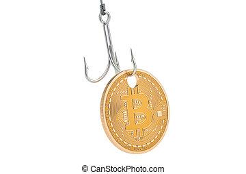 bitcoin, haken, phishing, concept., 3d, übertragung