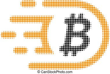 Bitcoin Halftone Dotted Icon with Fast Rush Effect