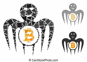 Bitcoin happy monster composition of humpy pieces in various sizes and color tints, based on Bitcoin happy monster icon. Vector unequal pieces are composed into collage.