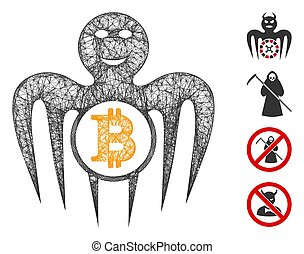 Mesh Bitcoin happy monster web icon vector illustration. Carcass model is based on Bitcoin happy monster flat icon. Mesh forms abstract Bitcoin happy monster flat carcass.