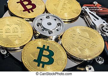bitcoin, hdd, blockchain, intérieur, monnaie, conduire, dur