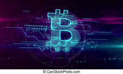Bitcoin hologram symbol on cyber background - Bitcoin,...