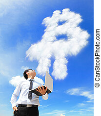 bitcoin, homme, nuage, ordinateur portable, business, regard