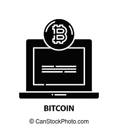bitcoin icon, black vector sign with editable strokes, concept illustration