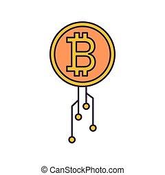 Bitcoin icon, cartoon style
