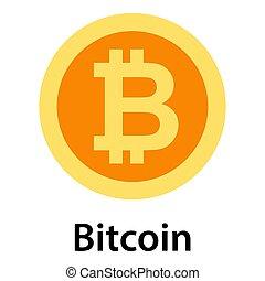 Bitcoin icon, flat style