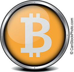 Bitcoin Icon - illustration of a metal framed bitcoin icon, ...