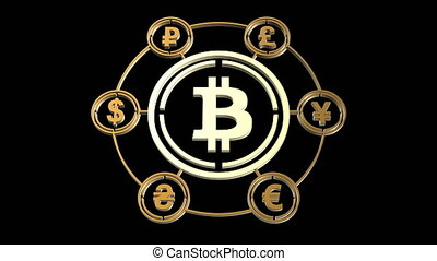 Bitcoin icon in the center of a circle of other world currencies in the spotlight. Bitcoin currency exchange, bitcoin trading platform. Abstract golden color 3D rendering, loop video 4k