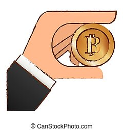 bitcoin icon, money symbol in the hand