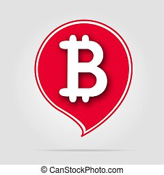Bitcoin icon red with soft shadow