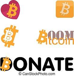 Bitcoin icon set - Five bitcoin icon set.