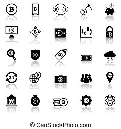 Bitcoin icons with reflect on white background