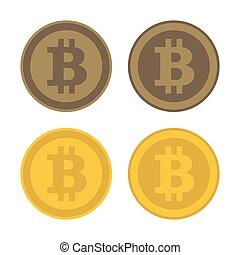 bitcoin, ikona, emblém, set., vektor
