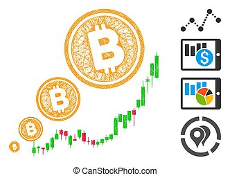 bitcoin, illustration, inflation, maille, toile, diagramme, vecteur