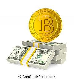 bitcoin, illustration, isolé, arrière-plan., blanc, monnaie, 3d