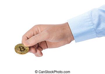 bitcoin, in, hand