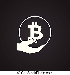 Bitcoin in hand on black background