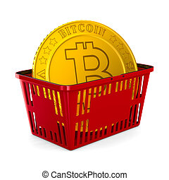 bitcoin in red shopping basket on white background. Isolated...